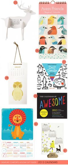 Creature Comforts Holiday Gift Guide: 2013 Calendars