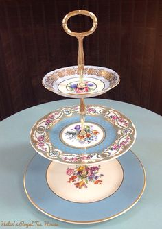 3 Tier Stand Blue Garden Tier for Cupcakes by HelensRoyalTeaHouse