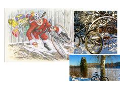 Cyclingchristmas Winter Cycling, Santa, Tapestry, Hanging Tapestry, Tapestries, Needlepoint, Wallpapers, Rug Hooking