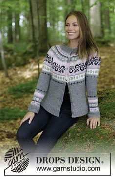 Ravelry: Telemark Jacket pattern by DROPS design Free Knitting Patterns For Women, Fair Isle Knitting Patterns, Sweater Knitting Patterns, Cardigan Pattern, Jacket Pattern, Magazine Drops, Drops Design, Work Tops, Knit Jacket