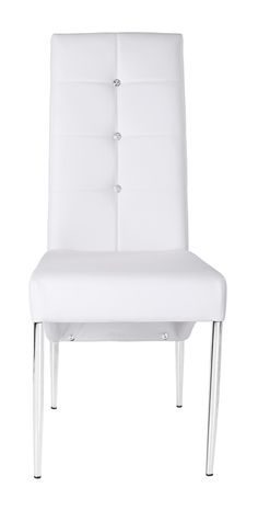 SIDE-4262 WHITE. Bling your dining room! Side chair in white PU with rhinestone. (Pic 1)
