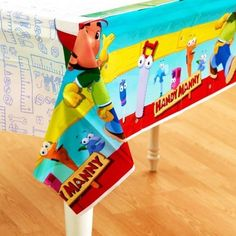 Handy Manny Plastic Tablecover by LGP. $6.99. One 54 in. x 102 in. Handy Manny and all his handy tools! Come along and join their birthday fun adventure. This Handy Manny Table Cover is a perfect match to the other Handy Manny party supplies. This handy plastic table cover keeps your party festive while protecting your table. Kids can't resist party fun with this colorful plastic table cover featuring Handy Manny and his handy tool friends. Since spills wipe up eas...