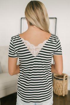 2052e983f3673 V-Neck Lace Detail Burnout Striped Tee - Black/White
