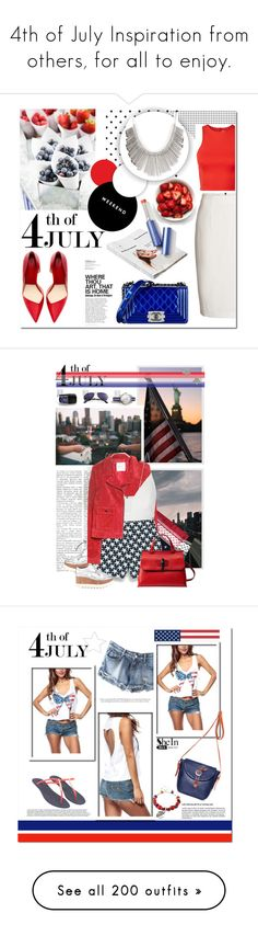 """""""4th of July Inspiration from others, for all to enjoy."""" by pinky-dee ❤ liked on Polyvore featuring Zara, WallPops, Burberry, Chanel, American Apparel, T By Alexander Wang, white, red, Blue and redwhiteandblue"""
