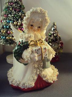 Vintage Christmas Angel Spaghetti Trimmed Napco Planter by twojs, $25.00