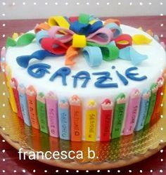 Torta fine anno scolastico 3 School Leavers, School Cake, San Patrick, Fake Cake, Primary School, 3, Birthday Cake, Cooking, Desserts