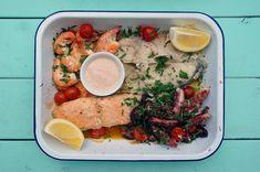 bandeja de peixe com polvo e camarão | Francinha Cooks