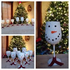 Snowman Glasses! Dollar store wine glasses, black and orange paint, felt for the scarf and snow-tex paint from ACMoore! Super fun, easy and Christmassy! :)