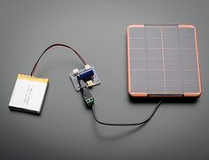 Very cool USB / DC / Solar Lithium Ion/Polymer charger kit from Adafruit, just add a LiPo and solar panel