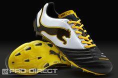Puma Football Boots - Puma PowerCat 1.12 FG - Firm Ground - Soccer Cleats - Black-White-Team Yellow