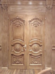 Wooden French Doors - January 01 2019 at Main Entrance Door Design, Wooden Main Door Design, Double Door Design, Door Gate Design, Door Design Interior, Modern Interior, Custom Wood Doors, Wooden Doors, Slab Doors