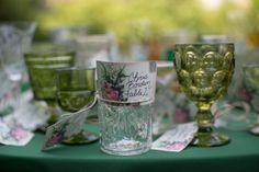 our vintage glass favors