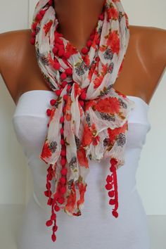 Red Floral pompom Shawl Scarf Headband Necklace Cowl by DIDUCI, $13.50