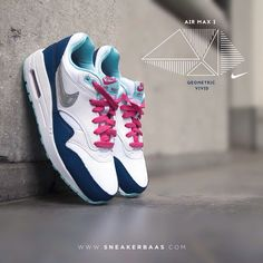 """#nikeair #nikeairmax #nikeairmaxvivid #geometric #swoosh #airmax1 #sneakerbaas #baasbovenbaas  Nike Air Max 1 Essential """"Geometric Vivid"""" - This new Air Max 1 edition is made from mesh and leather in blue with a white sole, topped off with pink laces and a metallic Swoosh.  Now online available 