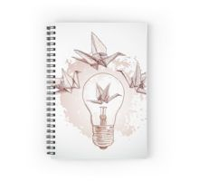 Origami paper cranes and light  Spiral Notebook