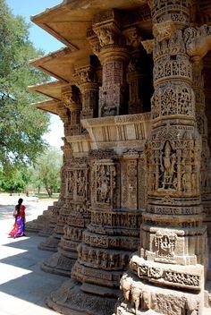 Surya Mandir (Sun Hindu Temple) dedicated to the Hindu Sun God-Surya, Modhera, Gujarat, India Travel Honeymoon Backpack Backpacking Vacation Temple Architecture, Indian Architecture, Ancient Architecture, Beautiful Buildings, Beautiful Places, Beautiful Pictures, Temples, Best Honeymoon Destinations, Amazing India