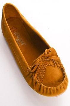 MUSTARD FAUX SUEDE MOCCASINS WITH BOW ACCENT AND FRINGE