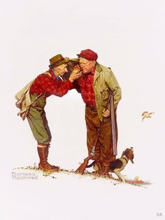 """1950 ... """"Two Old Men and Dog - Hunting"""" - Norman Rockwell 