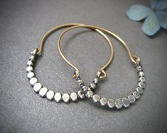 mixed metal hoops, sterling silver and gold filled hoops, silver bead hoops, unique jewelry, gifts for her Vintage Jewelry, Handmade Jewelry, Jewelry Box, Jewelry Making, Unique Jewelry, Fine Jewelry, Wire Earrings, Silver Earrings, Silver Ring