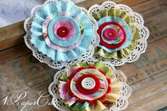 Lovely Fabric Flowers for Scrapbook & Card by 1papercut on Etsy, $4.50