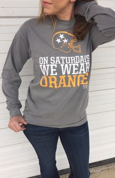 Perfect fall game-day shirt supporting the University of Tennessee Volunteers football team. This trendy lightweight long sleeve t-shirt brings style and comfort together. In a super soft fabric and a Tennessee Volunteers Football, Tennessee Football, University Of Tennessee, We Wear, Wear Red, How To Wear, Outfits For Teens, Cute Outfits, Tn Vols