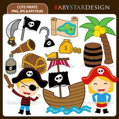 13 graphic elements of cute pirate theme. Perfect for your birthday invitation, craft projects, paper products, stationery, scrapbooking, web designs, stickers and many more!