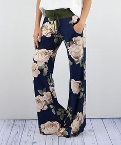 Eloges - Look what I found on #zulily! Navy & Ivory Floral Palazzo Pants #zulilyfinds