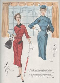 love the details on the Modes patterns. The dress in the blue sketch is great. GORGEOUS Modes Royale Pattern Catalogs Available in Adobe Pdf File Format Vintage Dress Patterns, Vintage Dresses, Vintage Outfits, Victorian Dresses, 1950s Fashion, Vintage Fashion, Fashion Artwork, Moda Vintage, Vintage Ads