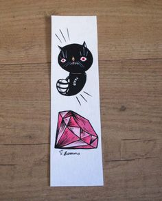 Pink Diamond Black Cat Bookmark hand painted  di ValentinaZummo