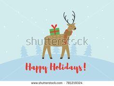 a winter holidays greeting card; a vector illustration with cute cartoon character snowman; festive holidays background with a Christmas Polar Bear; flat design postcard