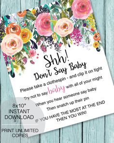 Printable Don't Say Baby game for a baby shower garden flower theme