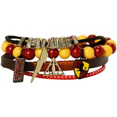 WB Harry Potter Gryffindor Bracelet 4 Pack ($11) ❤ liked on Polyvore featuring jewelry, bracelets, harry potter, gryffindor, accessories and burgundy