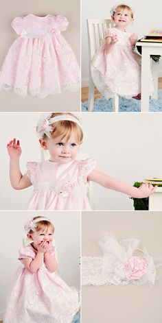 Perfectly Pink for Easter, our Madeline dress has the most beautiful lace overlay and matching headband.
