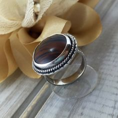 Rings Handmade Sterling Silver Mahogany Obsidian Ring Statement Jewelry Gender Neutral Jewelry Rustic Tribal Boho Southwest OOAK Ring by ArtNSoulJewels on Etsy