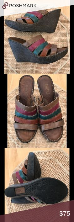 Multi-color Leather BORN WEDGE Sz 8 Worn once! Extraordinary comfort and craftsmanship. 4 color Earth-tone Leather Lattice striped uppers. Padded Leather Footwell and Insignia stamped on top stripe which also has elastic give.  Handbag shown w/coordinating colors in my closet. Discount given if you purchase both! BORN Shoes Wedges