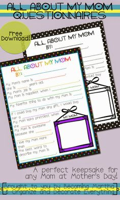 All About my Mom Questionaries Last Minute Easy Mother's Day Ideas