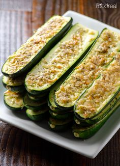 Parmesan Zucchini Sticks - 20 minute oven roasted zucchini that are low in carbs, fat & calories. And did I mention they are delicious?!