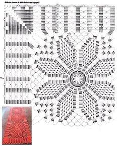 Ideas for crochet patrones tapetes Crochet Table Runner Pattern, Crochet Doily Diagram, Crochet Flower Patterns, Crochet Tablecloth, Crochet Chart, Crochet Squares, Filet Crochet, Crochet Motif, Crochet Doilies