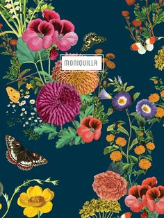 Pattern Design · Moniquilla Flowery Wallpaper, Print Wallpaper, Watercolor Flowers, Watercolor Art, Floral Backdrop, Plant Drawing, Illustration, Textile Patterns, Textiles