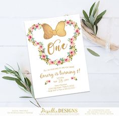 Minnie Mouse Birthday Invitation, Floral Minnie Mouse Birthday Invitation, Pink Gold Floral Minnie Mouse Birthday Invitation 1st 2nd 3rd by PrisellieDesigns on Etsy