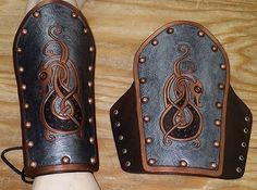 Norse Dragon Leather Armor Vambraces by SharpMountainLeather