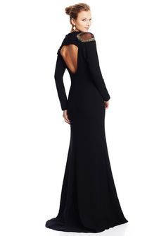 BADGLEY MISCHKA Cut-Out Long Sleeve Gown $334.99