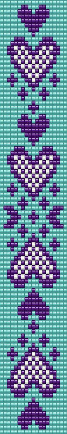 Beaded loom bracelet pattern, PDF seed bead bracelet, DIY be. Loom Bracelet Patterns, Bead Loom Patterns, Peyote Patterns, Beading Patterns Free, Heart Patterns, Loom Bands, Seed Bead Bracelets Diy, Beaded Bracelets, Bead Loom Designs