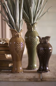 With its subtle earth tones, classic design, and beautiful ceramic glaze, this trio of owl vases is sure to be a favorite. The set of three includes one of each color and size. Owl Who, Owl Home Decor, Vases, Owl Always Love You, Ceramic Owl, Owl Crafts, Owl Bird, Owl House, Cute Owl