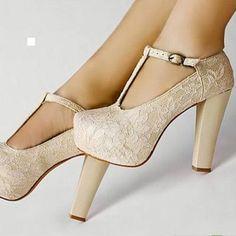 Cream Lace Platform Heels