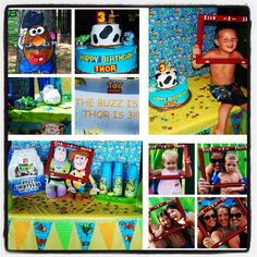 3rd birthday. Toy Story! Pin the face on Mr. Potato Head, etch a sketch photo booth, TS tattoos..