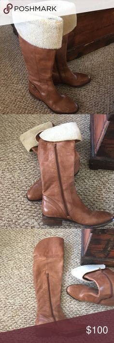 Loft leather riding boots with fur trim Brown leather boots, can be worn with fur trim folded down or up over knee. Barely worn LOFT Shoes Heeled Boots