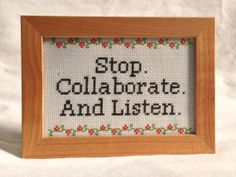 This would be perfect for the classroom! ;) Stop. Collaborate. And Listen.  Vanilla Ice  by crassXstitch, $29.99