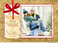 Warm Golden & Red Photo Merry Christmas Card Design