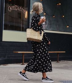 Black & white polka dots dress via @justmode